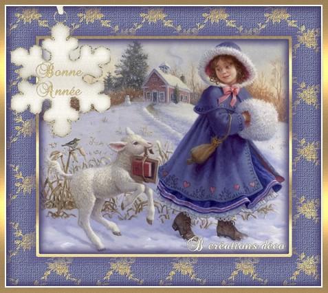 Bonne année - mouton - fillette
