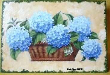 Tableau Peinture Art Hortensia Fleurs jardin bouquet Fleurs ...