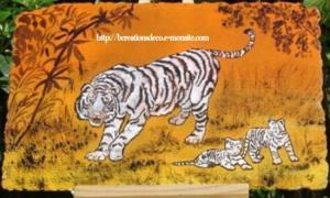 peinture tigre blanc et bébés