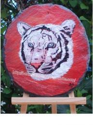 tigre blanc - peinture sur ardoise