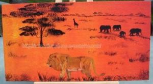 tableau -peinture - lion - Afrique