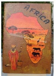 Afrique - peinture sur ardoise