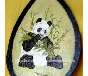 panda - peinture sur ardoise