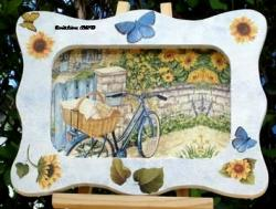 vélo bleu tournesol Bretagne papillon