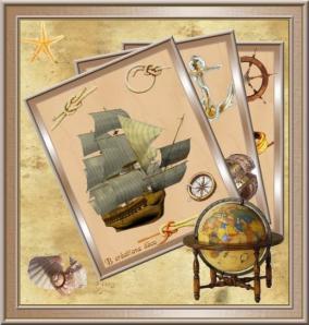 navire d'antan - cadres éventail