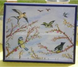 peinture - oiseaux - plateau