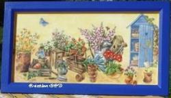 tableau cadre cabanne jardin jardinage