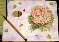 tableau palette peinture rose aquarelle