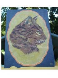 chat - peinture sur ardoise