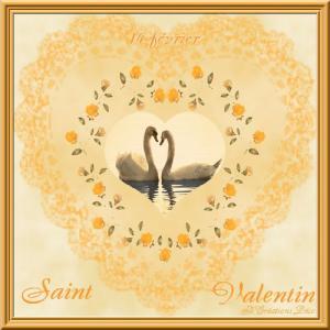 Saint Valentin - cygne - coeur