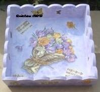 pannière - plat en bois bouquet