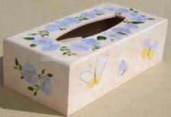 boite à mouchoirs peinte - fleurs