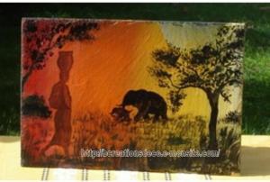 Africaine - peinture sur ardoise