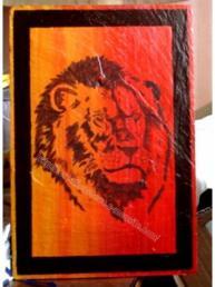lion - peinture sur ardoise