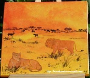 Tableau peinture sur bois lion - lionne - afrique