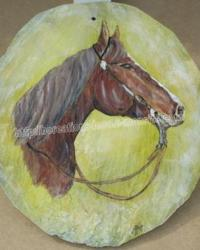 cheval - peinture sur ardoise