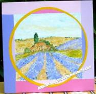 peinture - toile - mas et lavande