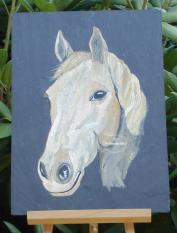 Ardoise cheval blc peint