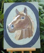 Ardoise cheval peint 1