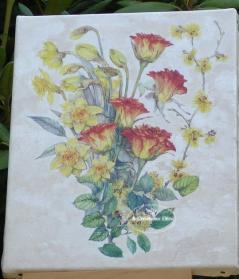 Tableau fleur jonquilles roses