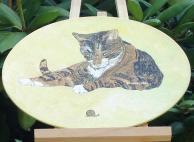 Tableau peinture sur toile chat escargot
